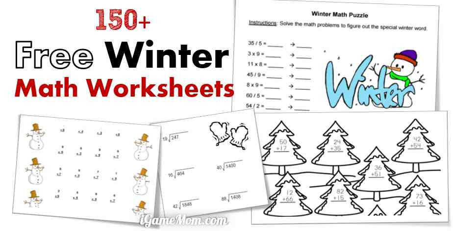 free winter math worksheets for kids