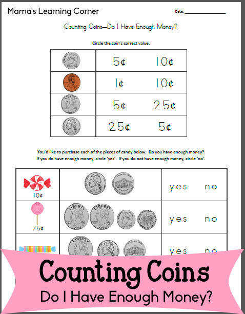 Free Worksheet Counting Coins Do I Have Enough Money