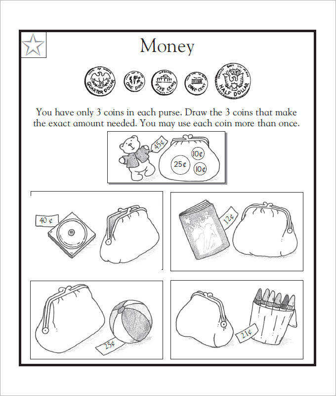 Easy Math Money Worksheets For Kids Template