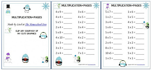 Winter Themed Multiplication Worksheets