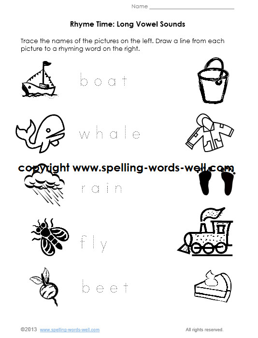 kindergarten phonics worksheet long vowel sounds