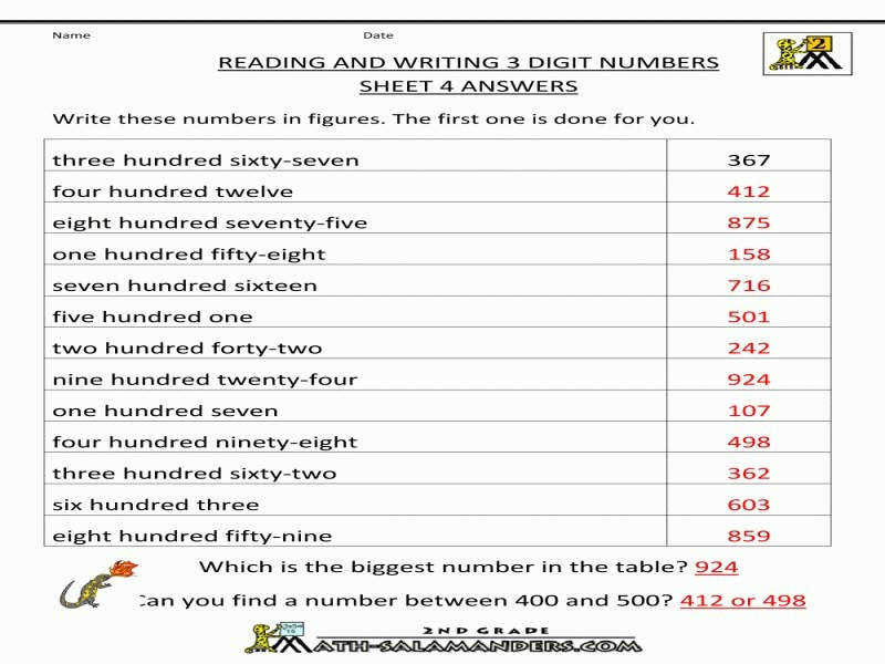 Free Place Value Worksheets – Reading And Writing 3 Digit Numbers