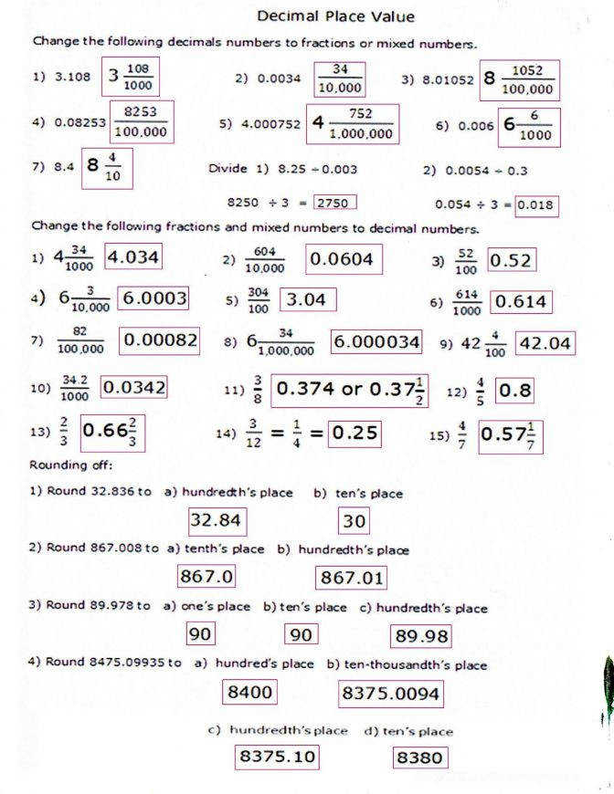 Decimal Worksheets Fifth Grade Kids Activities Place Value Worksheet 5 Decimalworksheetsolu Decimal Place Value Worksheet Worksheet