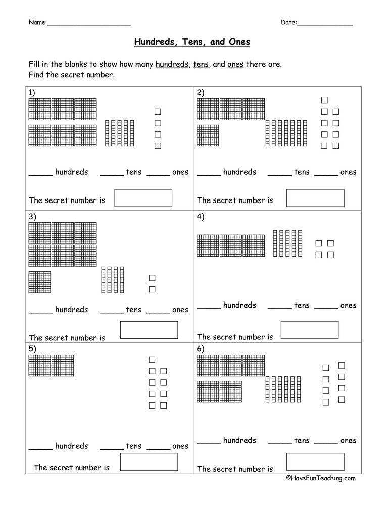Base 10 Blocks Place Value Worksheet