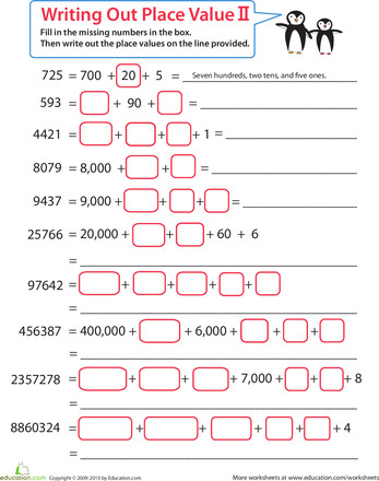 Worksheets Practice Place Value