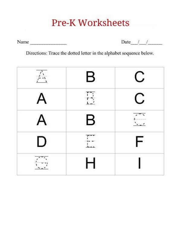 Free ABC worksheets for pre k tracing letters