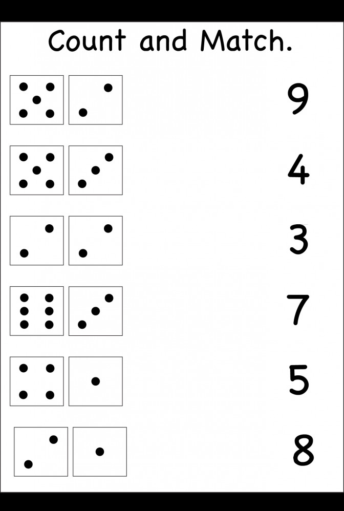 Count And Match Two Worksheets Free Printable Addition Worksheet For Kinder Countandmatch W Addition Worksheet For