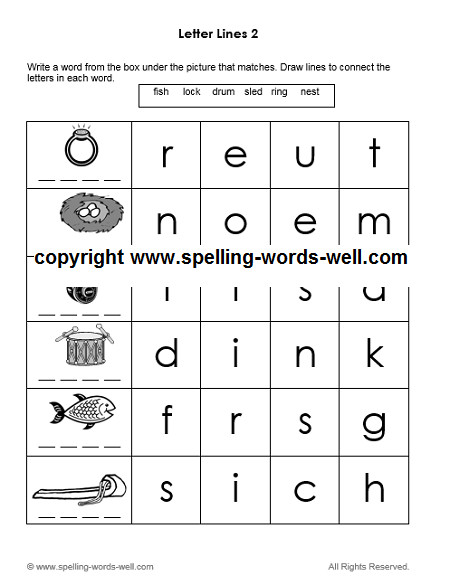 printable kindergarten worksheet Letter Lines 2