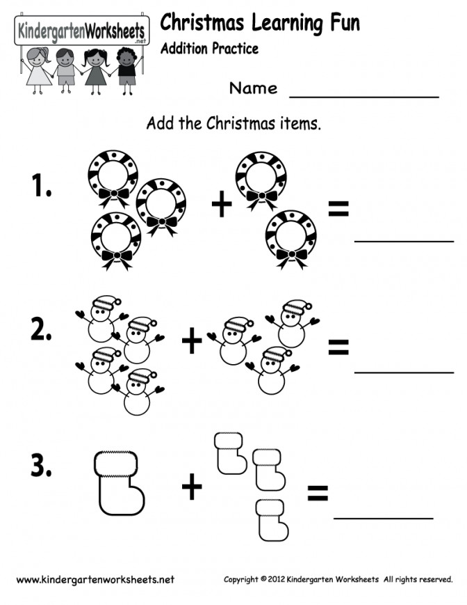 Free Printable Christmas Addition Worksheet For Kindergarten Worksheets Pint Addition Kindergarten Worksheets Worksheet Medium