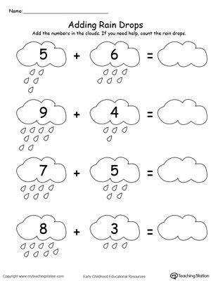 FREE Adding Numbers With Rain Drops Up to 13 Worksheet Add