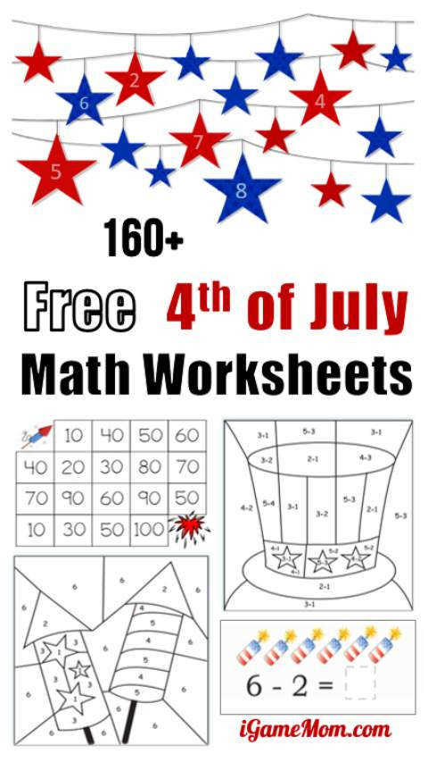 Free 4th of July math printable worksheets for preschool to grade 5 students Easy quiet
