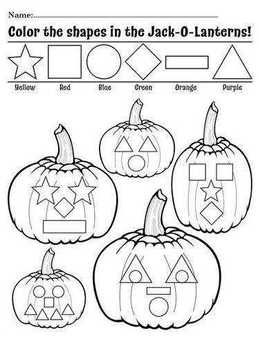 "FREE Printable ""Color the Shapes in the Jack O Lanterns"" Worksheet Preschool Printables"