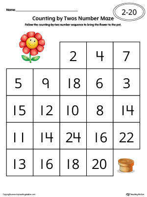 Counting by Twos Number Maze Worksheet in Color