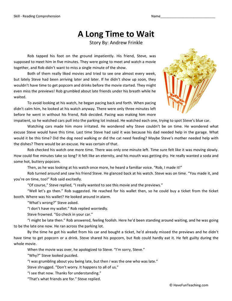 A Long Time to Wait – Reading prehension Worksheet