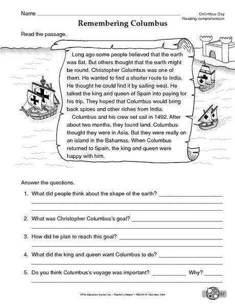Columbus Day Worksheet reading prehension Reading Informational Text Download to save to your