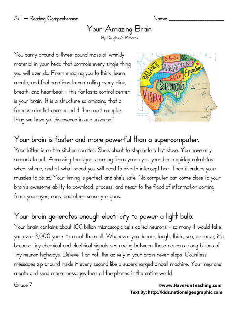 Brilliant Ideas of Reading prehension Worksheets For 6th Grade Printable For Free For Reference