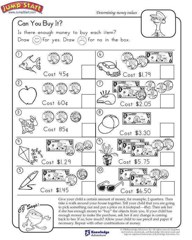 """Can You Buy It "" – 2nd Grade Math Worksheets JumpStart"