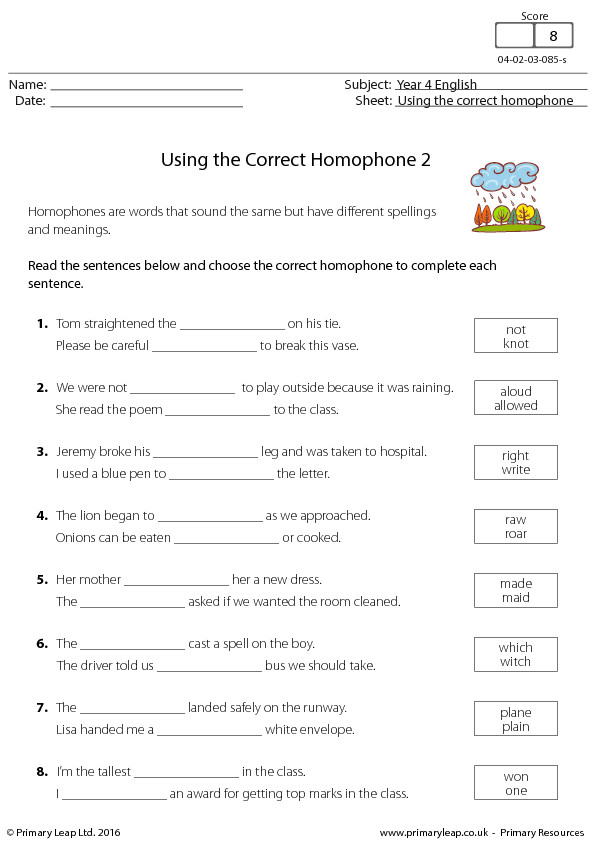 English Worksheet Using the Correct Homophone 2