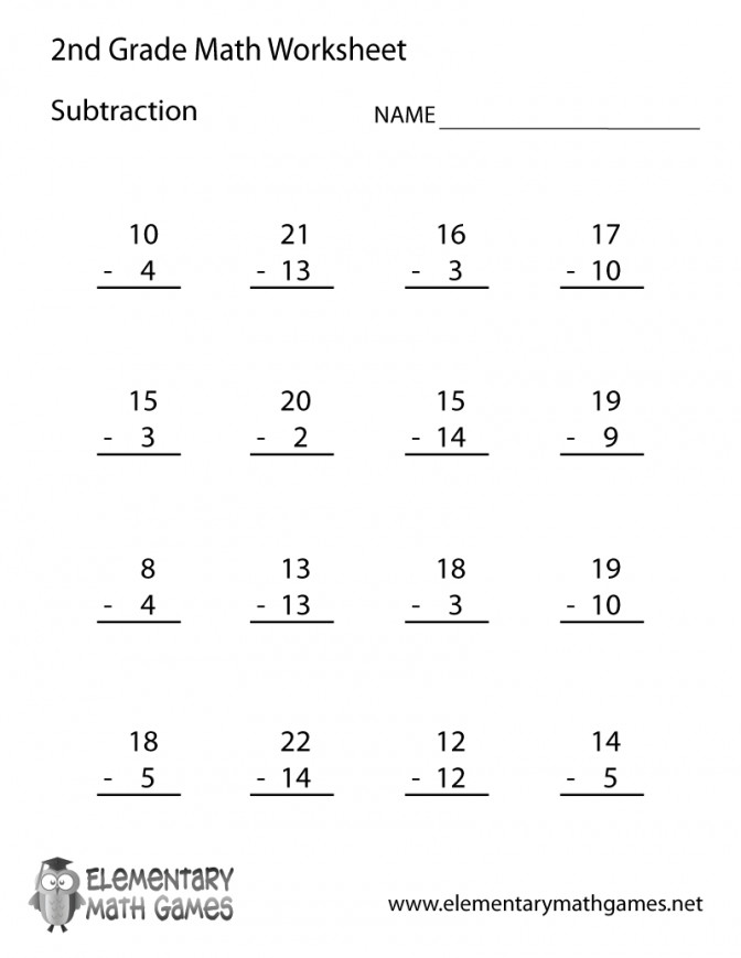 Free Printable Subtraction Worksheet For Second Grade Worksheet Free Printable Subtraction Worksheets For 2nd Grade Worksheet