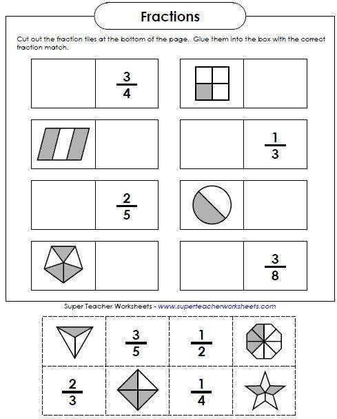 Basic fraction worksheets and manipulatives