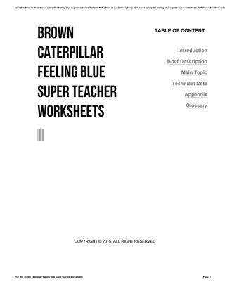Get brown caterpillar feeling blue super teacher worksheets PDF file for free from our o