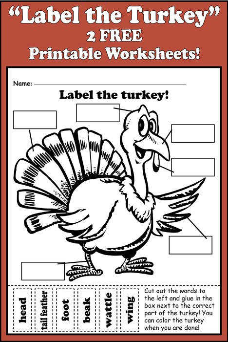 Label the Turkey Free printable worksheet
