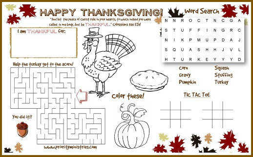 to the PDF file of this awesome Thanksgiving printable activity place mat from