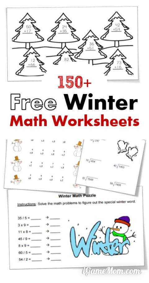 free winter math printable worksheets for preschool to middle school