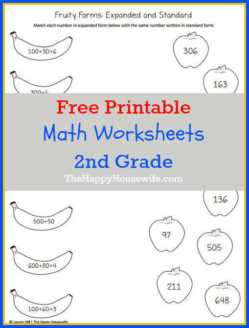 Math Worksheets for 2nd Grade Free Printables at The Happy Housewife