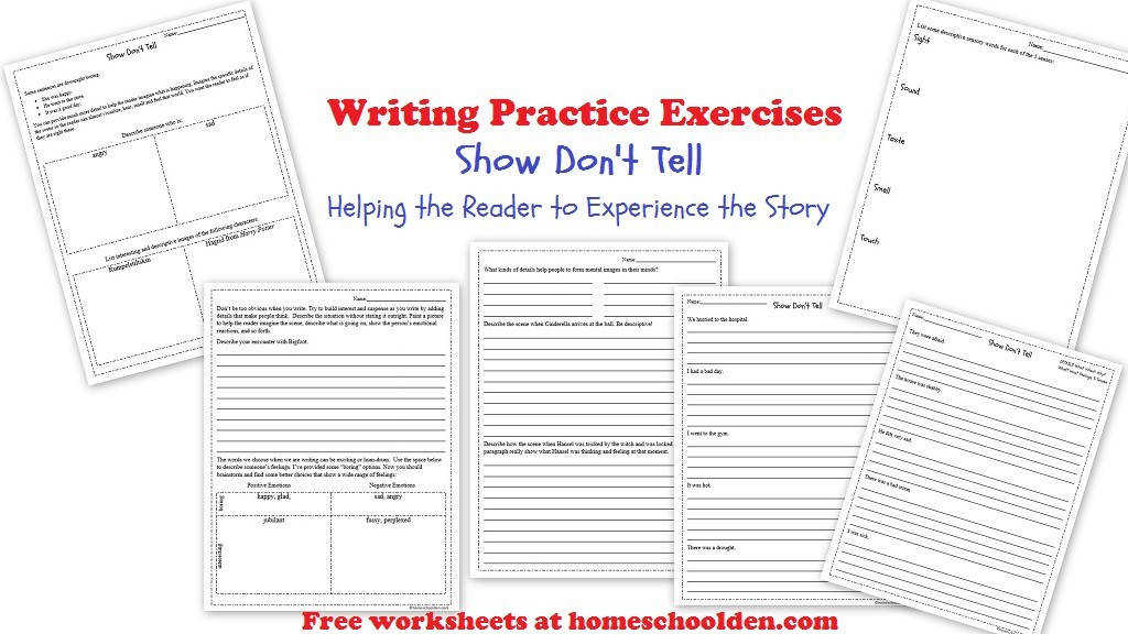 show dont tell writing worksheets