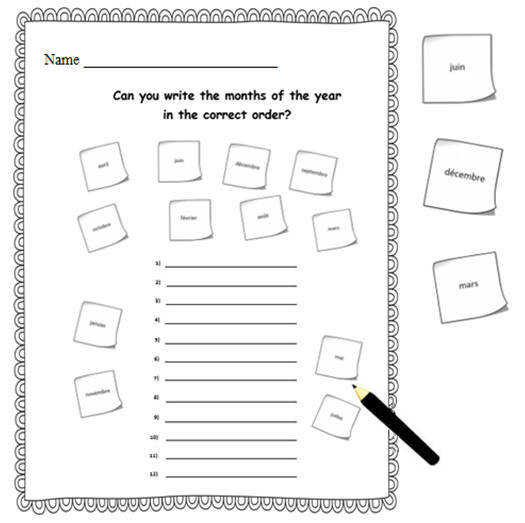 FRENCH MONTHS Activity WORKSHEETPractice Writing the Months