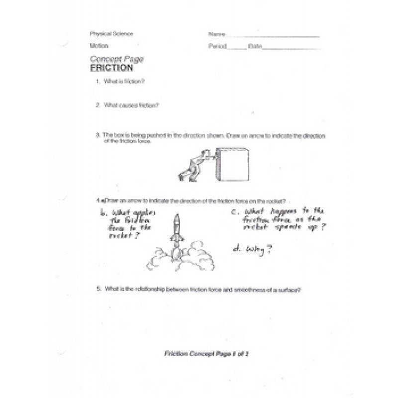Friction Concept Worksheet physical science
