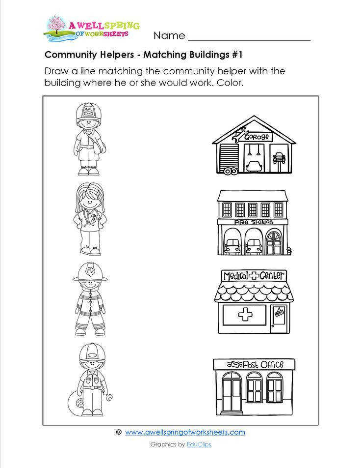 munity Helpers Matching Worksheets In these worksheets kids draw a line from the munity helper