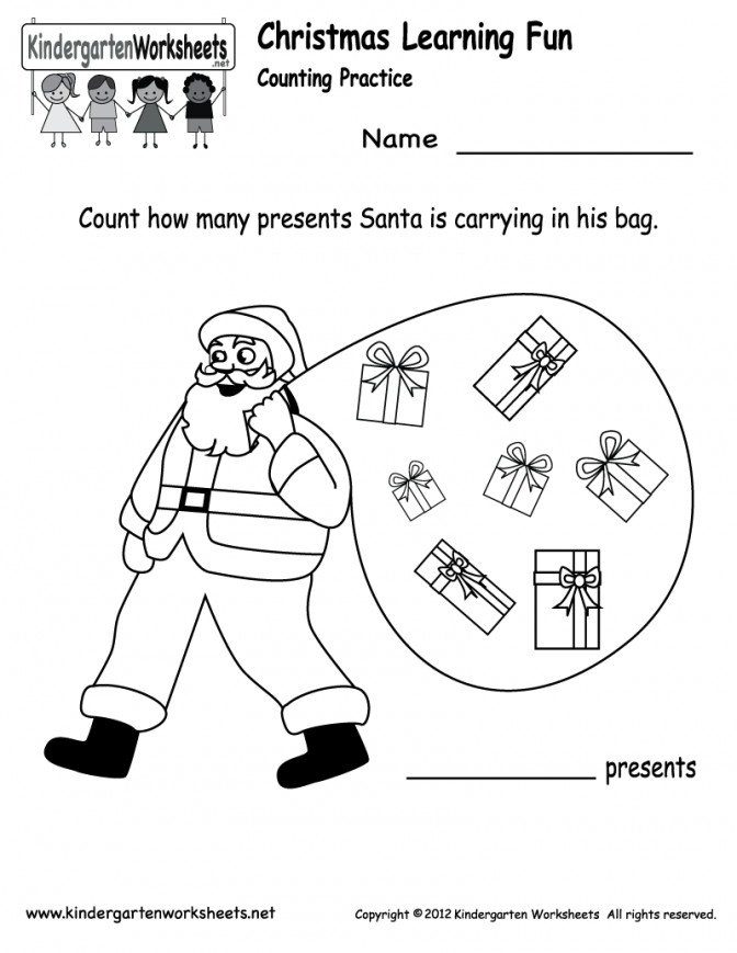 Santa Counting Worksheet Free Kindergarten Holiday For Fun Worksheets And First Grade Prin Fun Worksheet For