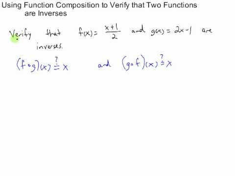 Using position to Verify Two Functions are Inverses