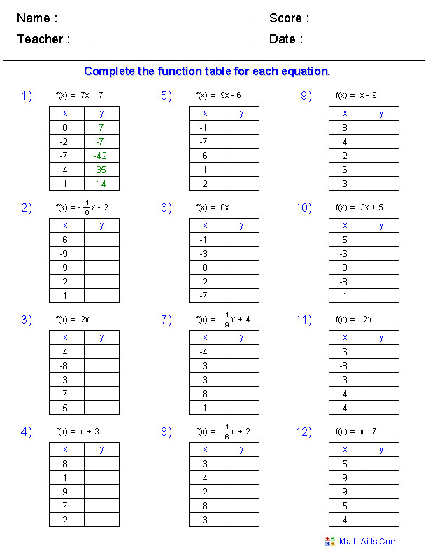 Function Table Worksheets