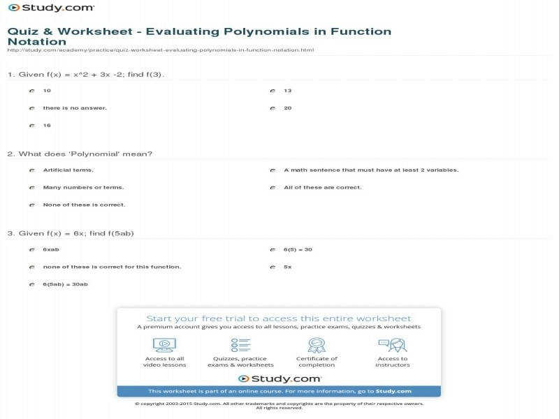 Quiz & Worksheet Evaluating Polynomials In Function Notation