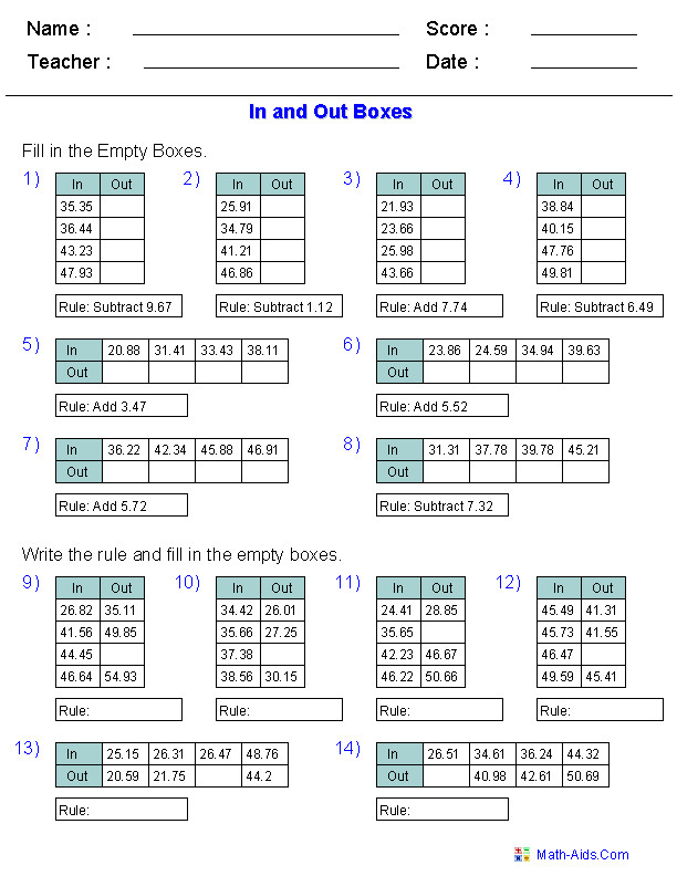 In and Out Boxes for Addition and Subtraction Using Decimal Numbers