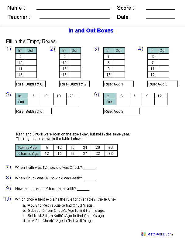 In and Out Boxes for Addition and Subtraction with Word Problems
