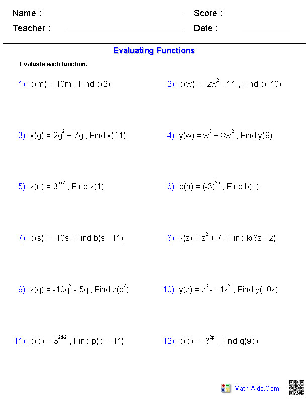 Evaluating General Functions Worksheets