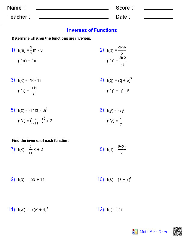 General Functions Worksheets