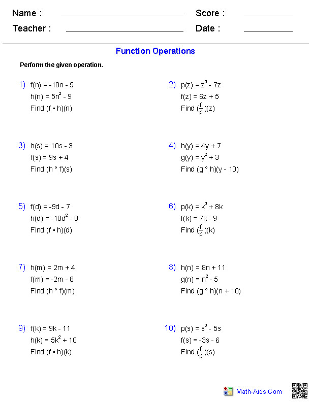 These Algebra 2 generators allow you to produce unlimited numbers of dynamically created general functions worksheets