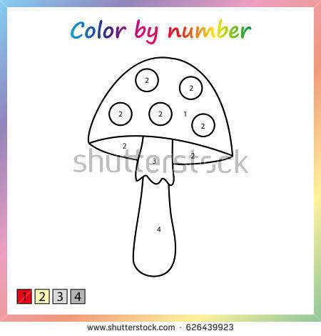 Amanita mushroom or fungi painting page color by numbers Worksheet for education
