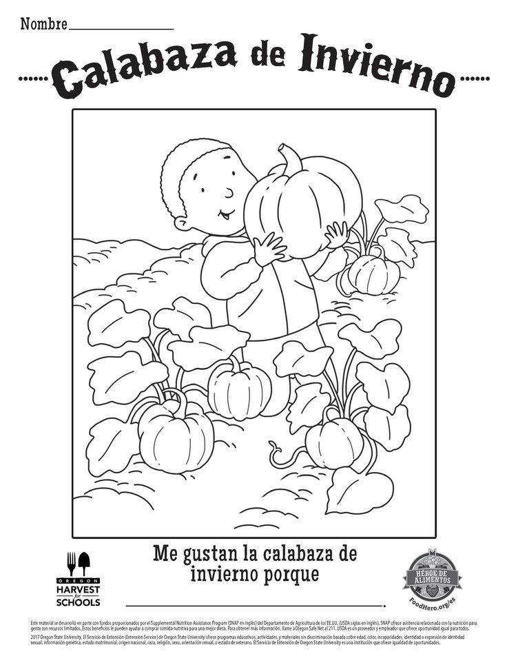 Food Hero Winter Squash Free Printable Children s Coloring Sheet in Spanish