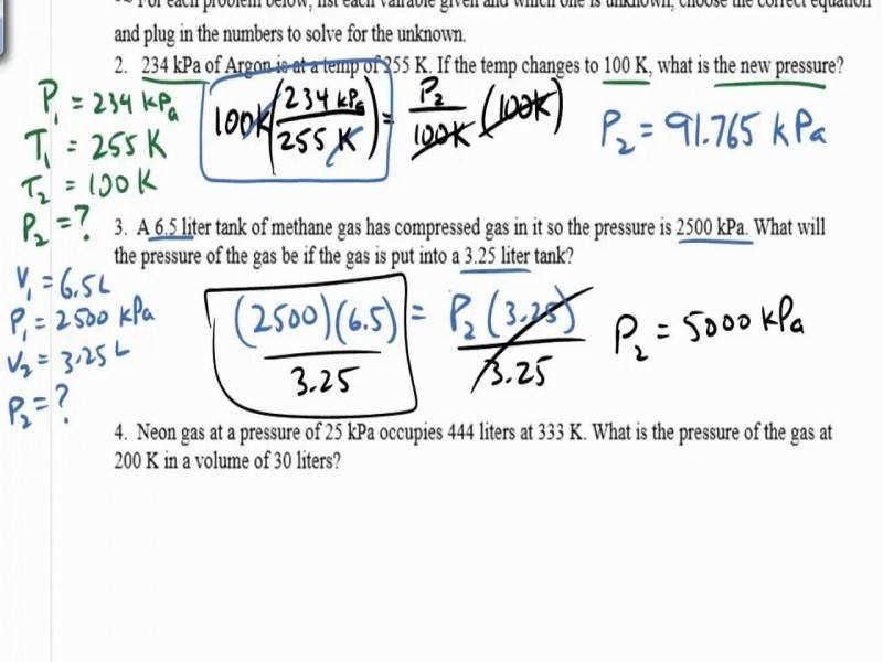 Gas Law Practice Problems Boyle s Law Charles Law Gay Lussac s