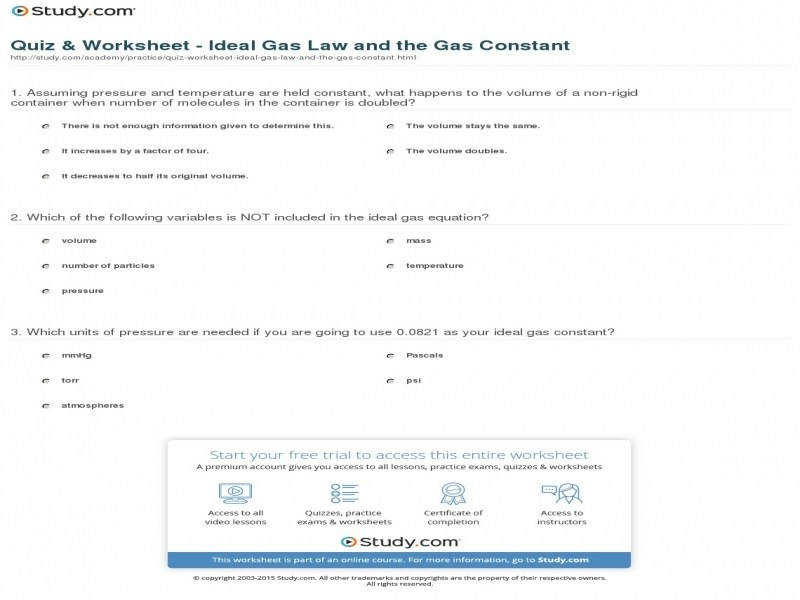 Quiz & Worksheet Ideal Gas Law And The Gas Constant