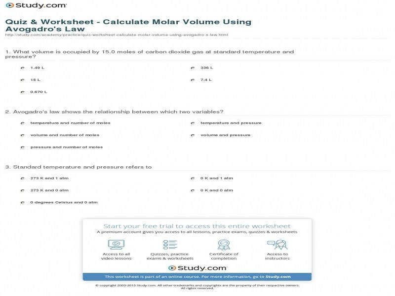 Quiz & Worksheet Calculate Molar Volume Using Avogadro s Law