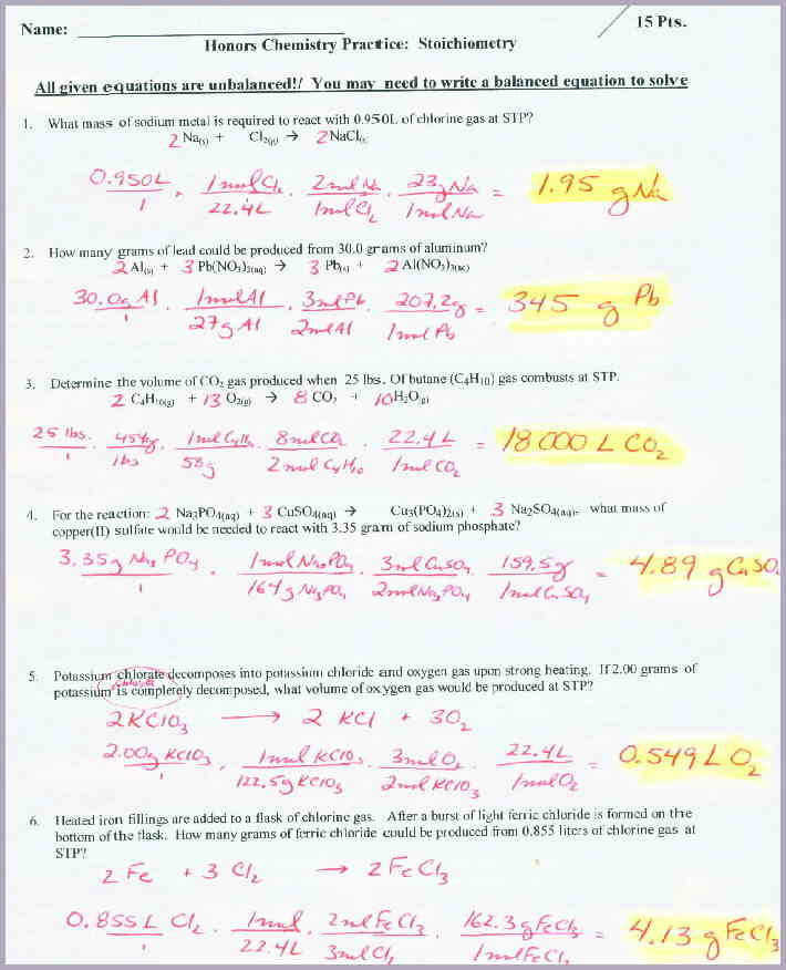 Chemistry Stoichiometry WorksheetoichWSkey1