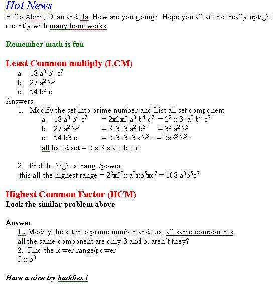 HCF and LCM worksheet including 3 numbers by jhofmannmaths