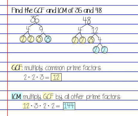GCF and LCM factor trees